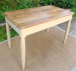 Plateau Bois Bureau : table bureau ancien en bois peint et plateau en bois naturel ~ Edinachiropracticcenter.com Idées de Décoration