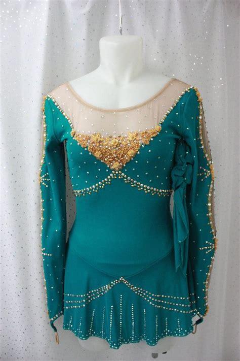 elegant royal teal beaded figure skating dress