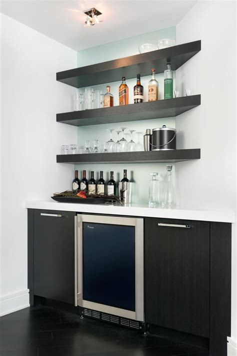 Home Bar Glass by This Modern Bar Features Floating Corner Shelves And A
