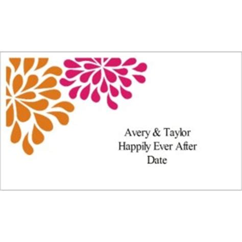 avery business card template 8875 templates wedding shower pink orange flowers on