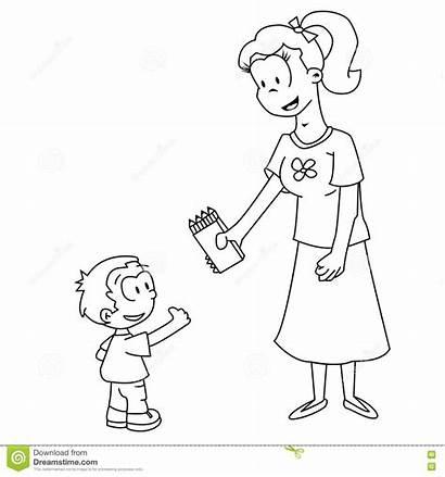 Mom Son Giving Cartoon Av Mamman Blyertspennor