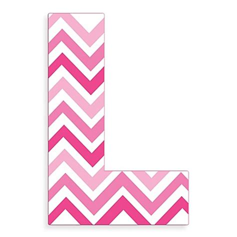 pink and white l stupell industries tri pink chevron 18 inch hanging letter