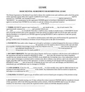 Sample Rental Lease Agreement Templates