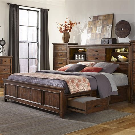 Bedroom With Bookcase by Wolf Creek Bookcase Bed With Storage By Intercon