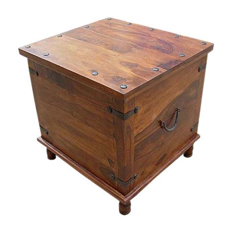 table and storage square wood with metal storage trunk box accent table