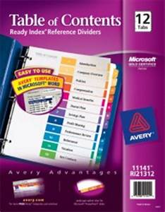 Contemporary ready index table of contents dividers for Avery ready index template 12 tab