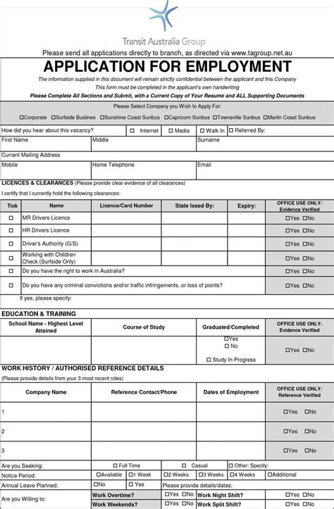 50 free employment application form templates printable template lab