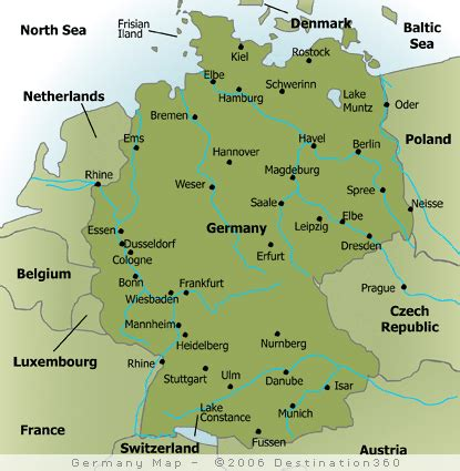 map  major cities  germany germany germany travel