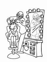 Kapper Knipt Kleurplaat Barber Leukekleurplaten Coloring Kleurplaten Hairdresser Cutting Kleur Colouring sketch template