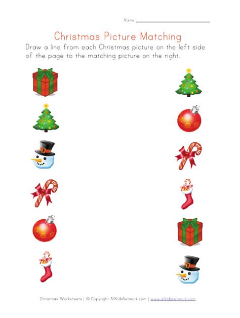 christmas pictures matching worksheet