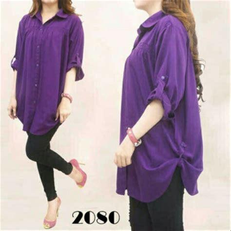 jual order yuk baju wanita atasan jumbo polos ungu