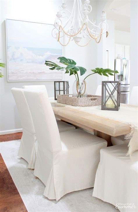 Why I Love My White Slipcovered Dining Chairs — House Full. Cabinet Knobs And Pulls. Sea Glass Tile Backsplash. Wood Range Hoods. Light Blue Living Room. Closets. Microwave Cabinet. Engineered Floor. Intertile