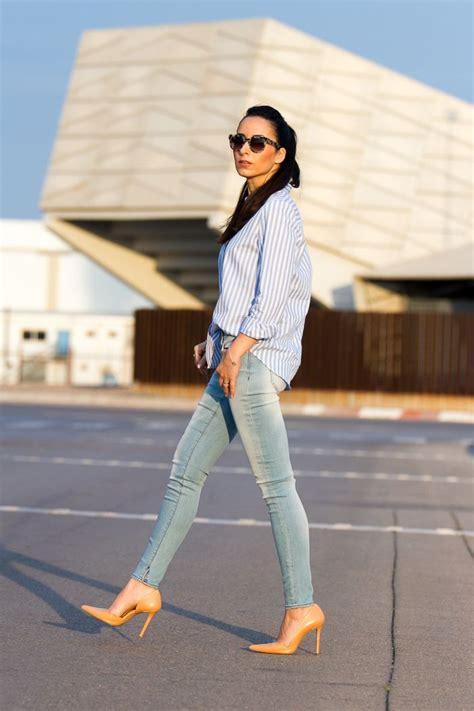 Look casual chic con jeans Meltinu0026#39; Pot de verano y camisa de rayas azul y blanca | Moda ...