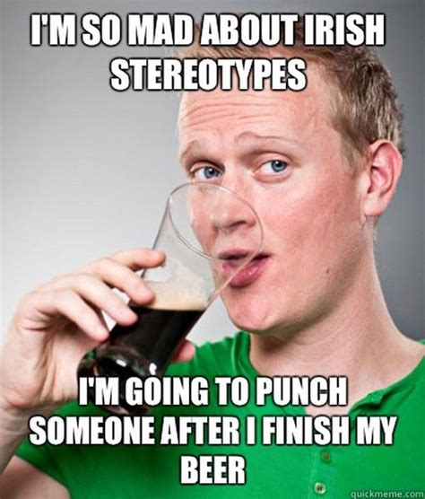 Food St Memes - i m so mad about irish stereotypes i m going to punch someone after i finish my beer pictures