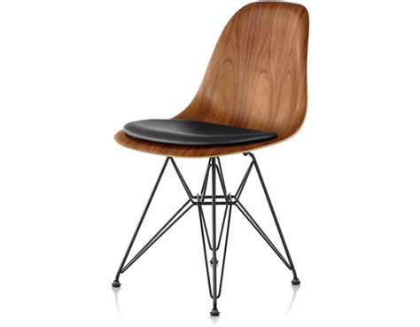 eames 174 wire base wood side chair with seat pad