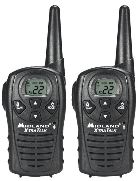 2 way radio range midland lxt118 18 mile 2 two way radios walkie talkies frs gmrs pair black new 04601450 ebay