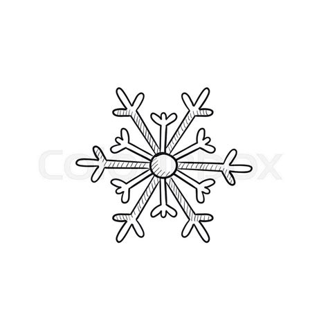 snowflake vector sketch icon isolated stock vector