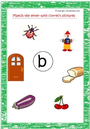 match letter with correct pictures small letters