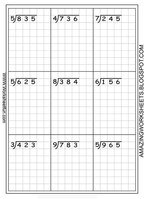 division worksheets free using graph paper