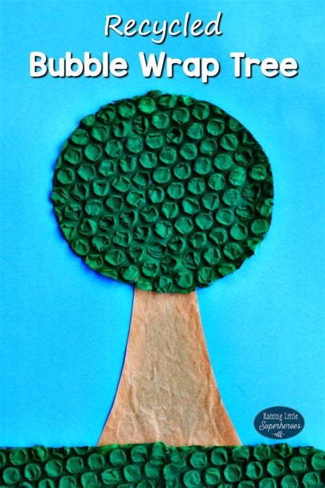 recycled bubble wrap tree craft  earth day