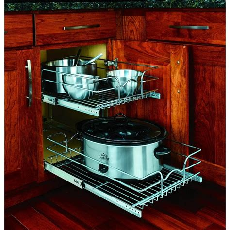wire slide out shelves for kitchen cabinets rev a shelf 2 tier metal pull out cabinet basket at lowes 2226