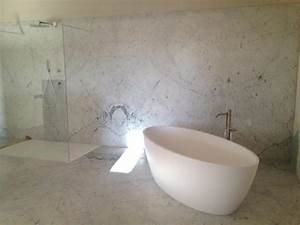 salle de bain en marbre blanc de carrare vaucluse avignon With salle de bain marbre carrare