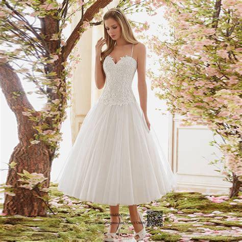 Rustic Vintage Tea Length Wedding Dress Lace 2017 Short