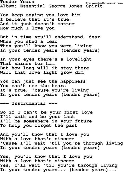 tender years by george jones counrty song lyrics