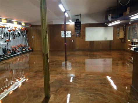 lawn equipmnet store retail metallic epoxy floor brown