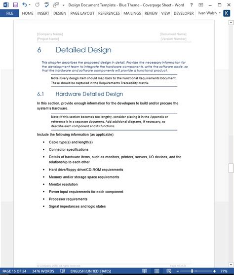 software design document template design document template technical writing tips