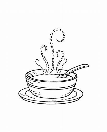 Soup Bowl Drawing Stamp H1 Wood Mount