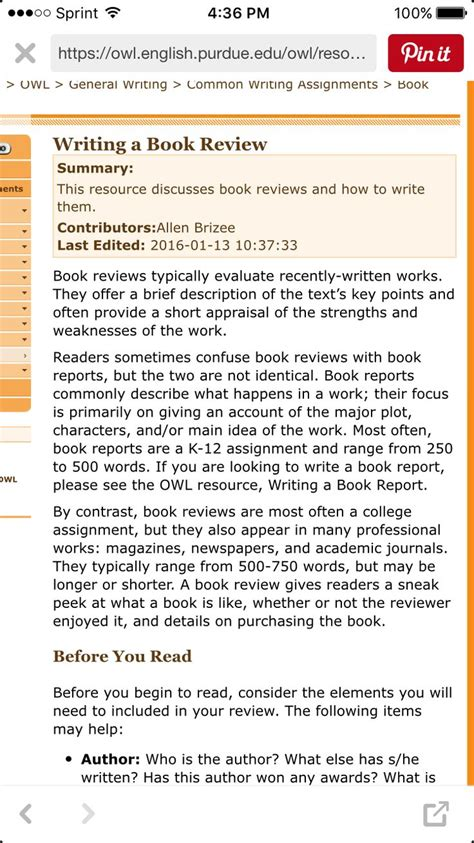 Purdue Owl How To Write A Book Review Httpsowlenglishpurdueeduowlresource7041