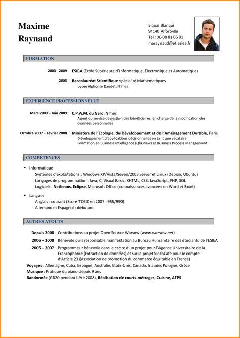 Formulaire De Cv En Francais by Mod 232 Le Cv En Fran 231 Ais Exemples Des Cv En Francais Jaoloron