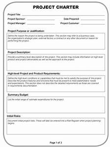 pmi project charter definition project management With one page project charter template