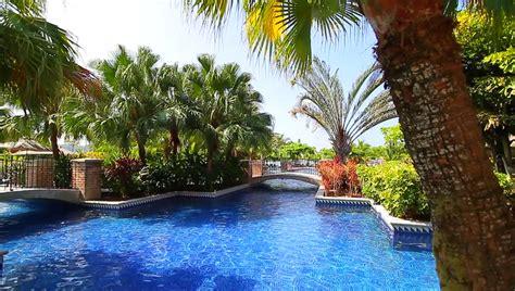 pool bridge trees tropical leisure stock footage