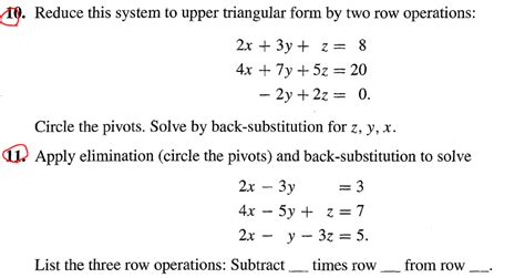 triangular form solved reduce this system to upper triangular form by two