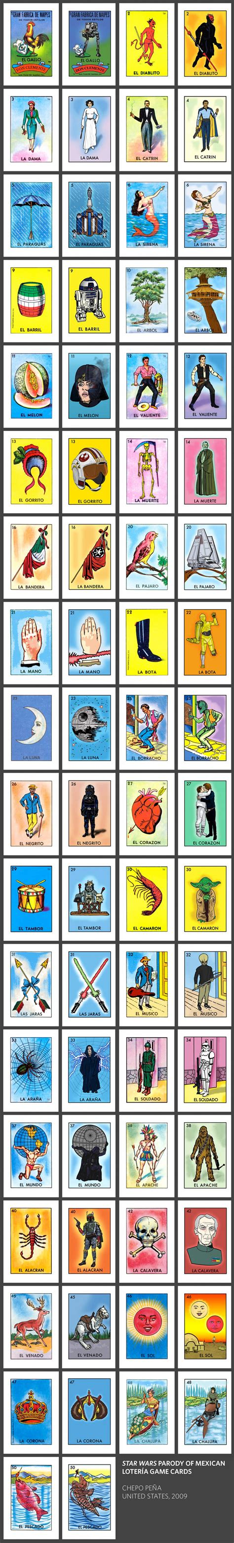 geek art star wars parody  mexican loteria cards