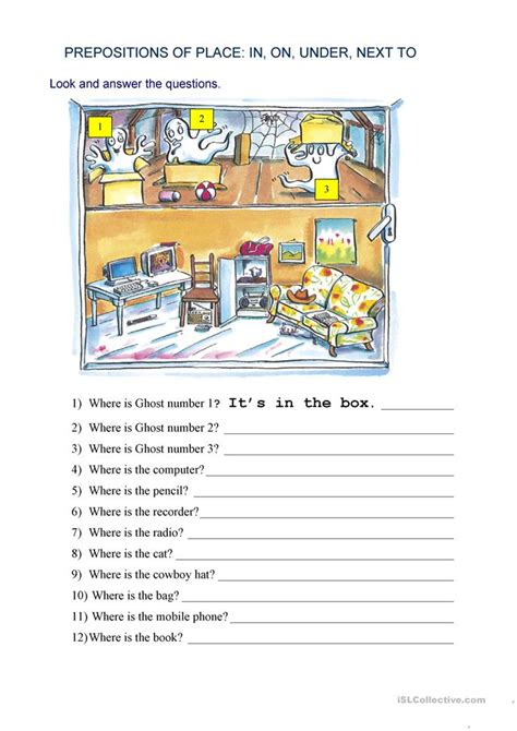 prepositions  place   worksheet  esl