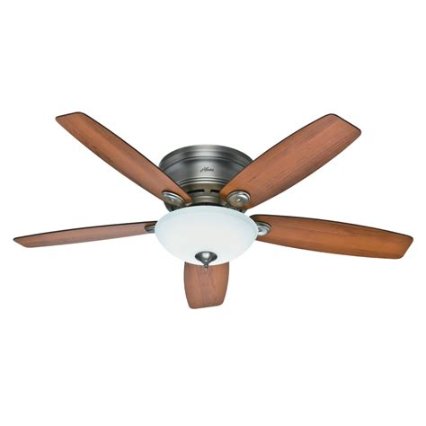 hunter low profile ceiling fan with light shop hunter low profile iv plus led 52 in antique pewter