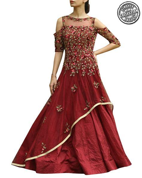 shop gowns  net  banarasi silk fabric fused