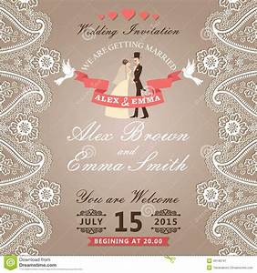 vintage wedding invitation with paisley border lacegroom With vintage wedding invitation with lace free vector