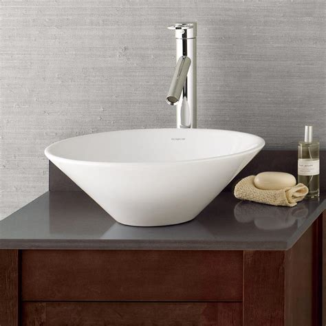 taper  conical ceramic vessel bathroom sink  white