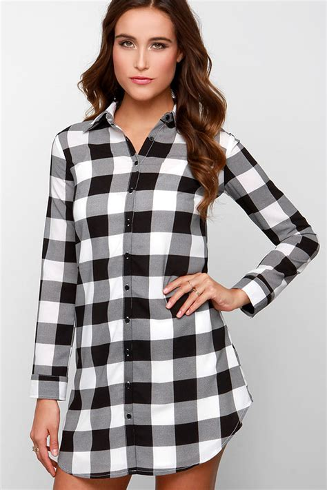 cute plaid dress shirt dress black  white dress