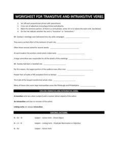 Transitive Or Intransitive Action Verbs Worksheet  Englishlinxcom Board  Pinterest Verb