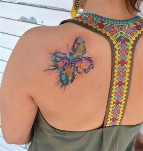 Mariposa en Acuarelas by Javi Wolf Tatuajes para Mujeres