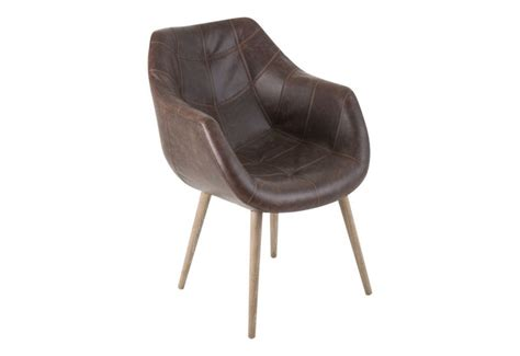 chaise baquet chaise baquet rétro en cuir vieilli marron vical home