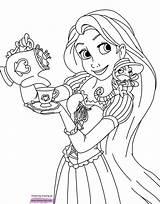 Coloring Rapunzel Pages Tangled Printable Disney Pascal Princess Tea Disneyclips Sheet Pdf Books Funstuff Moana sketch template