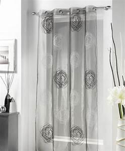 Voilage A Oeillet : rideau voile voilage 140 x 240 cm spiral cachou gris ~ Teatrodelosmanantiales.com Idées de Décoration