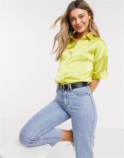 Glamorous satin blouse in lime | ASOS