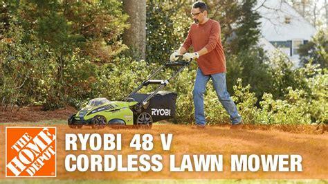 ryobi   cordless lawn mower  home depot youtube